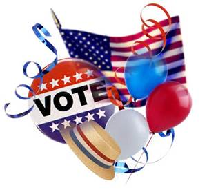 Vote picture w/balloons clip art