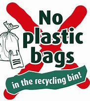 No Plastic Bags in Recycling Bin Clip Art