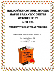 Halloween Costume Judging October 31st at 4:30 PM